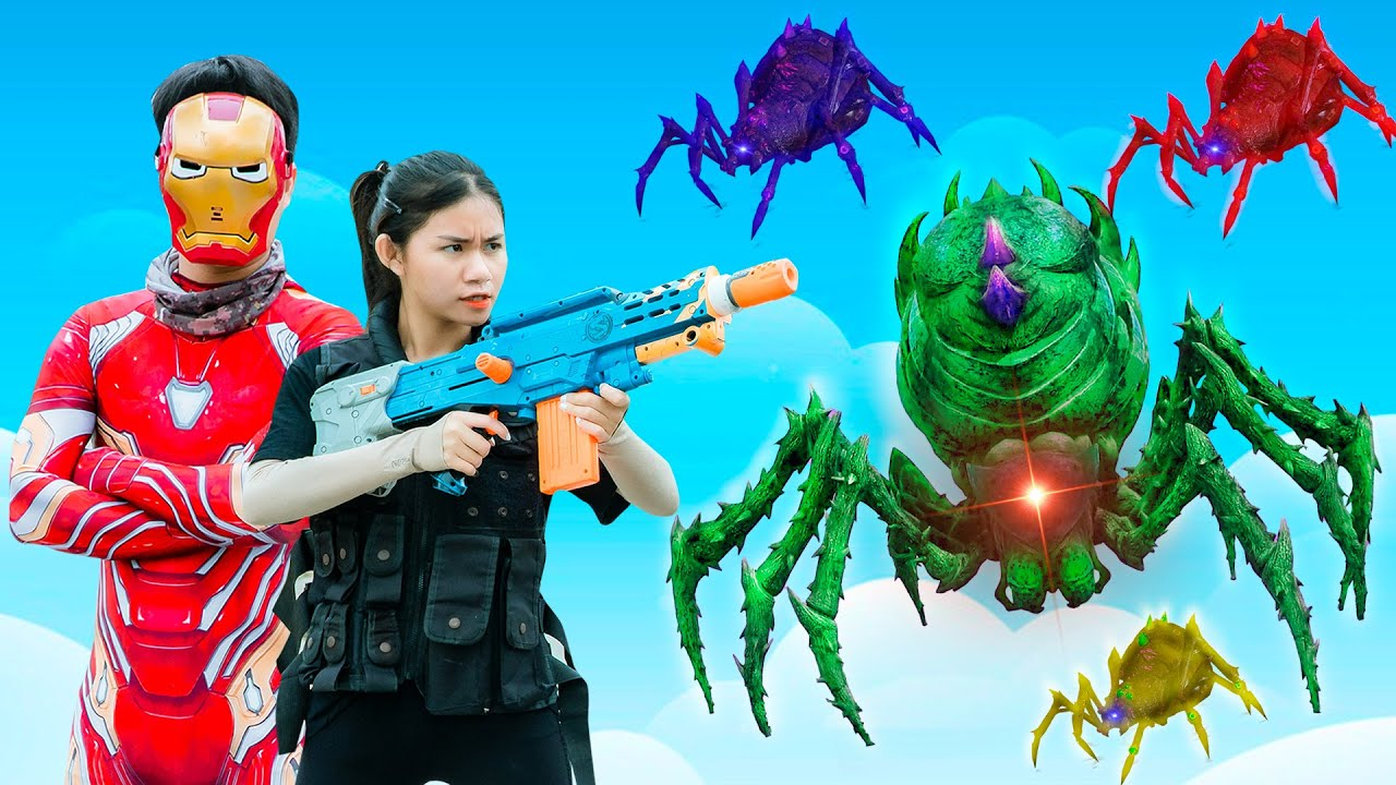 XGirl Nerf War: SQUAD SPIDER SWATv Candy Nerf Guns Dr. Crazy Fight Iron Man Defend the city