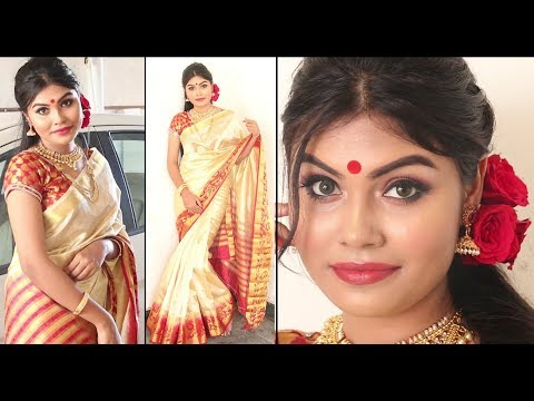 Durga Puja Makeup Tutorial | বাংলা তে । Saree + jewellery | Bengali Traditional | English subtitles