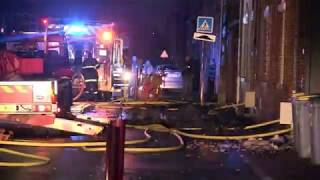 Intervention des pompiers à Guesnain contre l'incendie de trois maisons