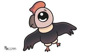 Cómo dibujar un condor kawaii