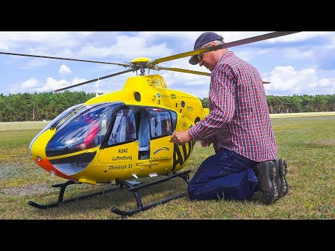 WORLD`S LARGEST RC MODEL TURBINE HELICOPTER EC135 EUROCOPTER