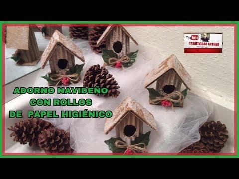 Adornos navide os con rollos de papel higi nico facil y - Manualidades con rollos de papel higienico para navidad ...