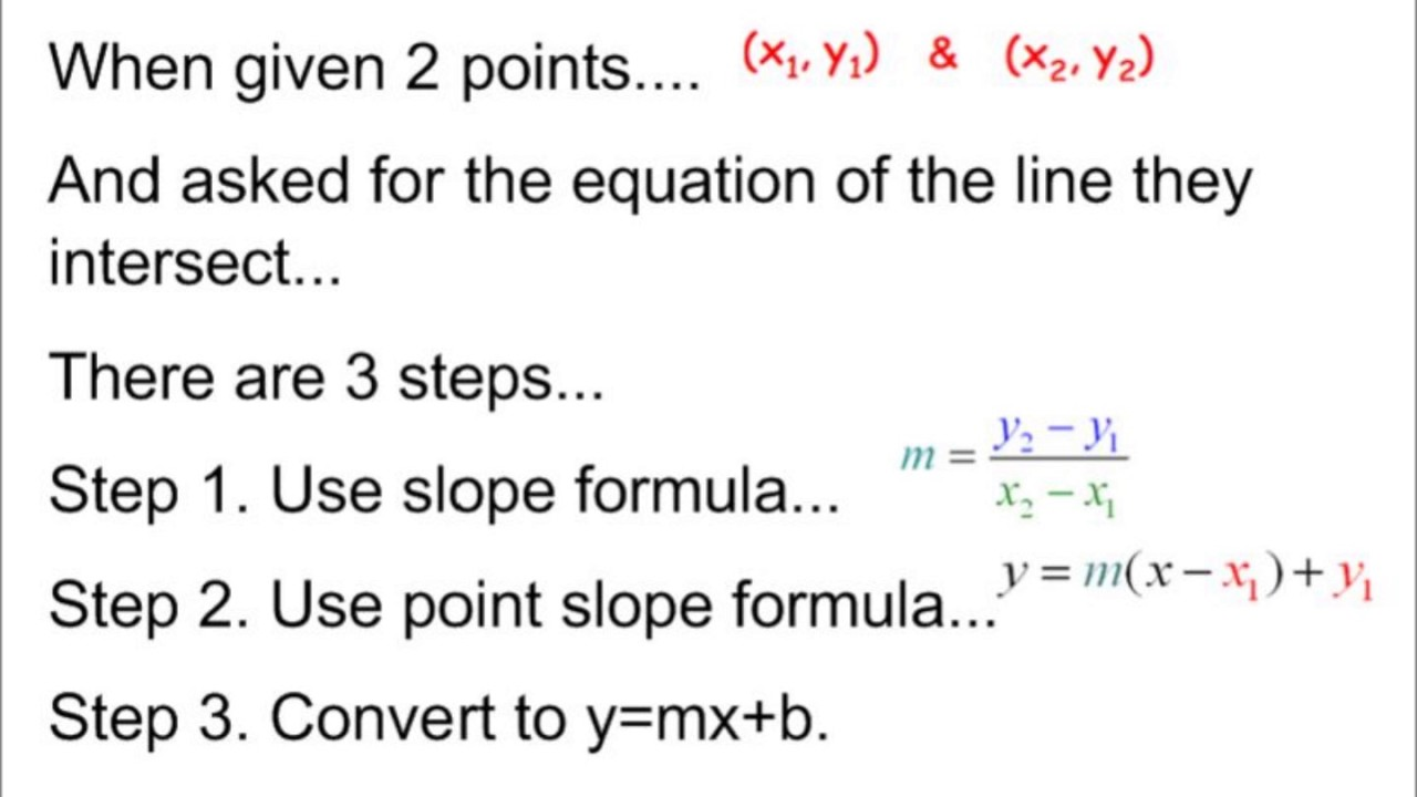 2 point slope formula  Point Slope Formula (10 points) - Review For Test