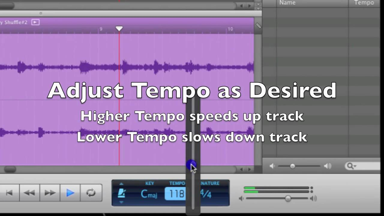 How to Change the tempo in GarageBand (speed up or slow down
