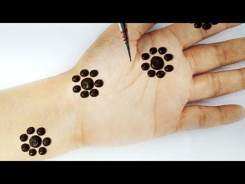 Easy Mehndi Design - गोल टिक्की मेहँदी डिज़ाइन - Stylish Dot Mehndi Design for hands