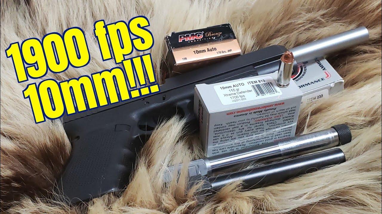 10mm Glock 40 3 Long Barrel Length Velocities