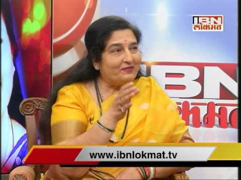 Anuradha Paudwal in IBN Lokmat News Room Charcha