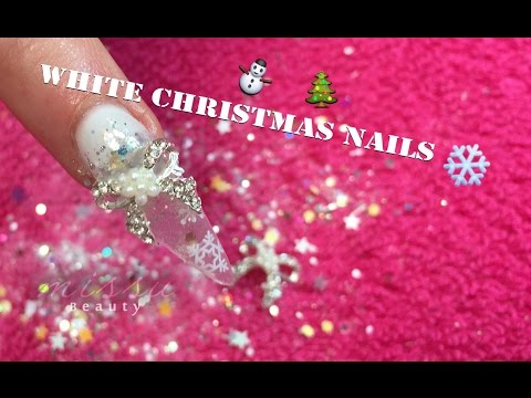 Acrylic Nail Tutorial~~White Christmas Nails thumbnail