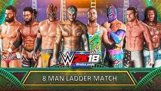 WWE 2K18 8 Man Ladder Match | WWE 2K18 Money In The Bank - WWE 2K18 Ladder Match PS4 Gameplay