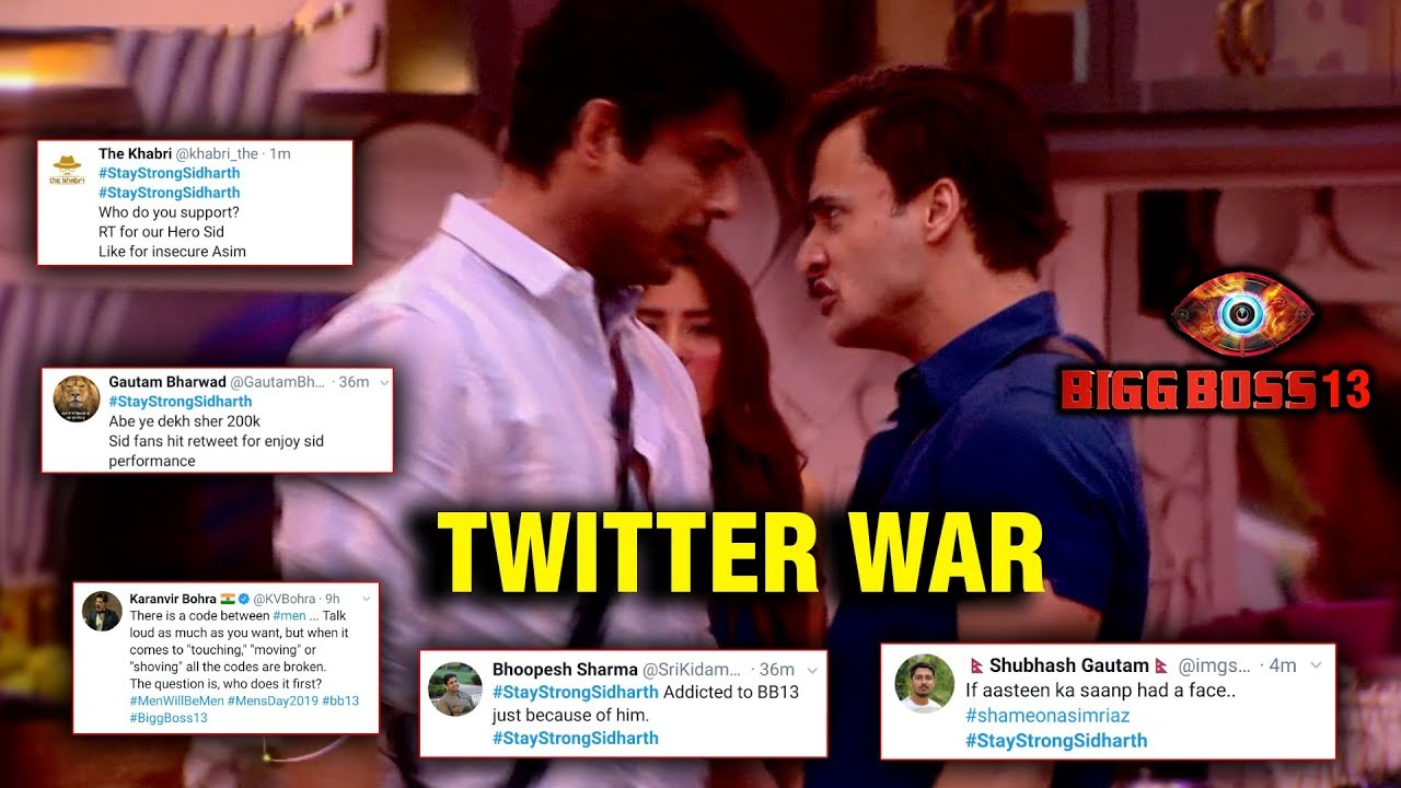 Siddharth Shukla And Asim Riaz S Fight Fan War Trending On Twitter Bigg Boss 13