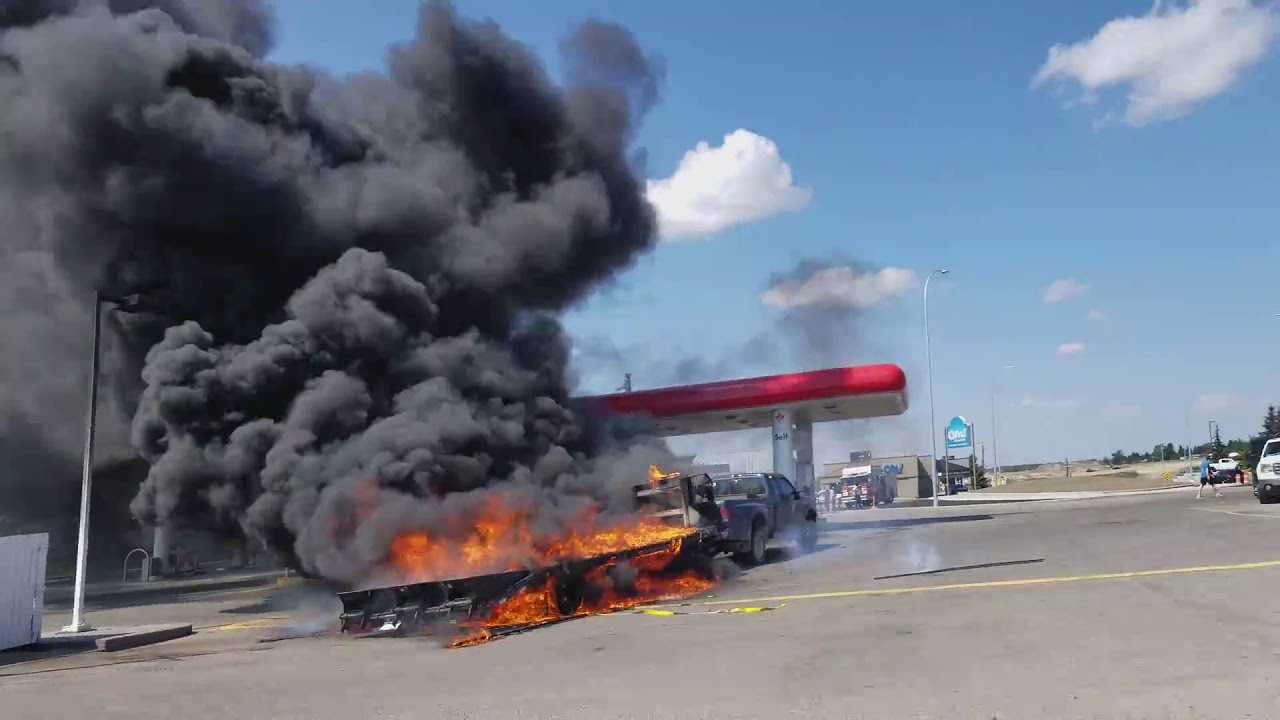 Find Gas Stations >> Massive Truck Fire PART 2 at Petro Canada Gas Station Bowfort Rd Calgary - YouTube