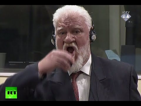 RAW: Bosnian Croat ex-general Praljak drinks poison at Hague tribunal