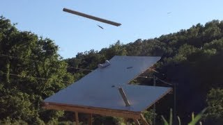 "Air Cannon Shooting Through 3/4"" Plywood At 120 Mph"