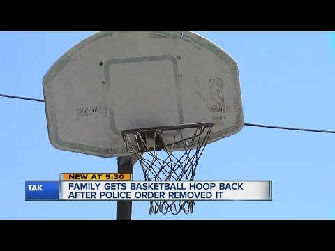 Family gets basketball hoop back