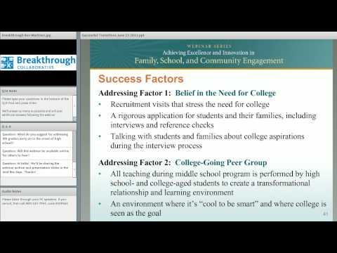 Successful Transitions to High School: Promoting Success & Facilitating College Readiness