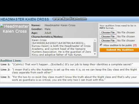 Audition To Be Headmaster Kaien Cross In Shiro Rozu's Vampire Knight Fandub