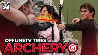 OFFLINETV TRIES ARCHERY (FAIL) FT. Michael Reeves, Pokimane, LilyPichu, FED, DisguisedToast, Scarra