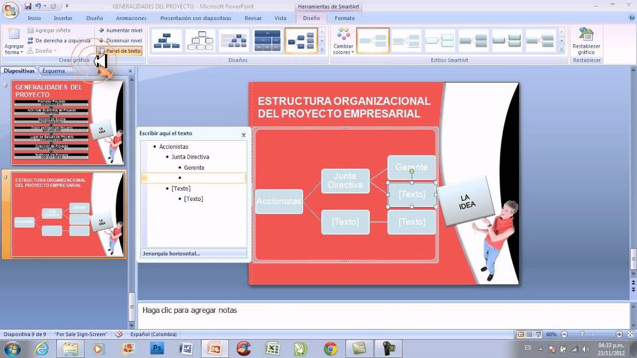 Video Powerpoint No 010 Creacion Estructura Organizacional En La Presentacion