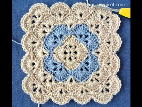 Crochet Granny Square Flower Youtube