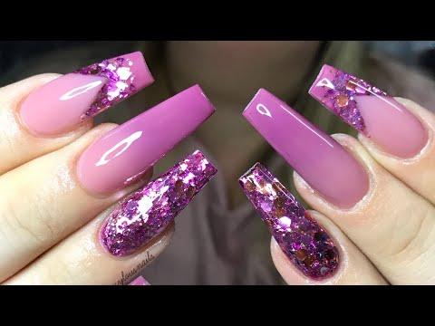 Acrylic Nail Tutorial | ombré glitter & smilelines thumbnail