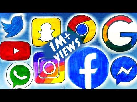 Social Media App Drawing | Facebook, Whatsapp, Instagram, YouTube, Messenger, Snapchat, Twitter