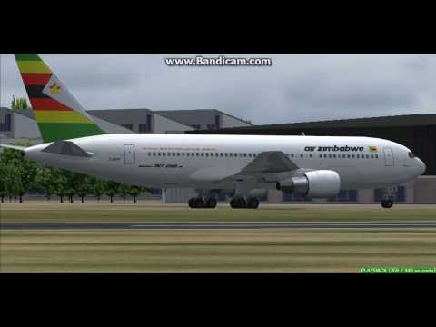 Air Zimbabwe B767-200 Harare International Airport FVHA Landing FS9