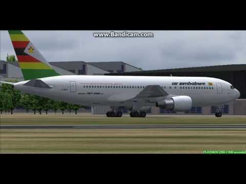 Air Zimbabwe B767-200 Harare International Airport FVHA Landing FS9