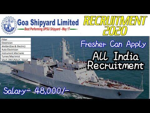GOA SHIPYARD LIMITED Recruitment 2020 for 43 Welder, Marine Fitter & Other Posts