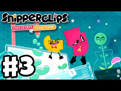 Snipperclips - Gameplay Walkthrough Part 3 - Silly Science! Cut It Out, Together! (Nintendo Switch)