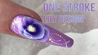 One Stroke Lily Design - Step by Step Nail Art Tutorial