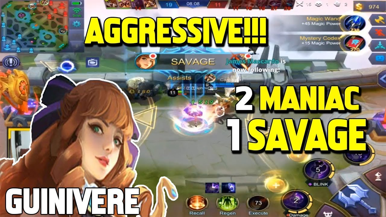 GUINIVERE 2 MANIAC 1 SAVAGE IN 1 MATCH! | Sphinx | Mobile Legends