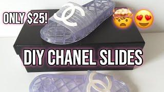DIY CHANEL CC LOGO JELLY SLIDES
