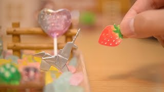 [miniature garden] My pet is origami unicorn [stopmotion cooking & toys]