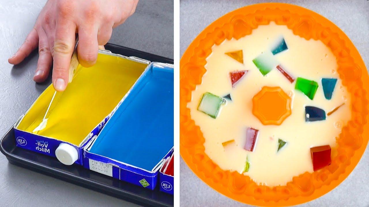 ¿Sabías que con 2 cartones de leche vacíos puedes hacer un postre tan colorido como este?