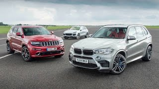 Jeep Grand Cherokee SRT vs Porsche Cayenne Turbo S vs BMW X5 M - performance SUV drag race
