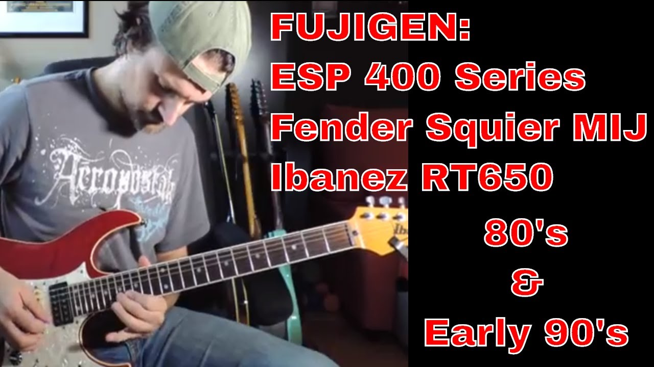 Fujigen Strat Guitar from the 80s: ESP 400 Series vs Fender Squier MIJ vs  Ibanez RT 650