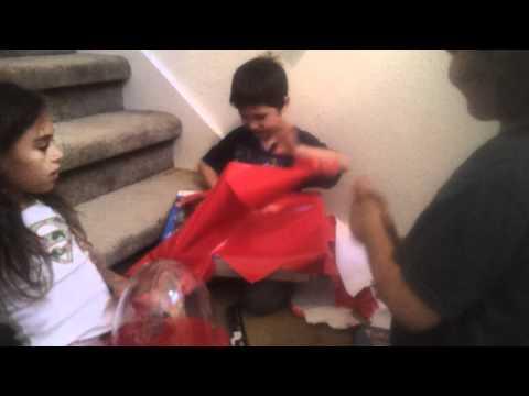 Wyatt opens Skylanders present for his 7th birthday