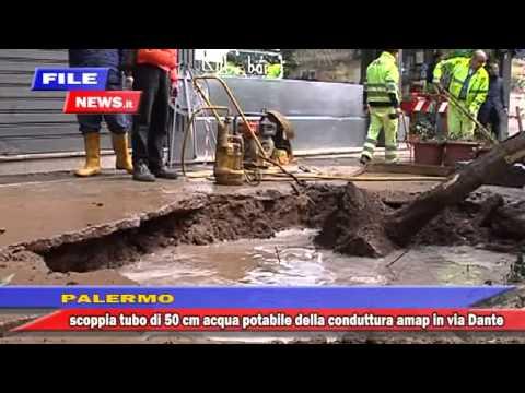 Palermo scoppia grossa tubatura dell'acqua in via Dante