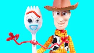 Toy Story 4 Toy Review With Buzz Lightyear Forky Woody And Duke Caboom ! Superhero Toys