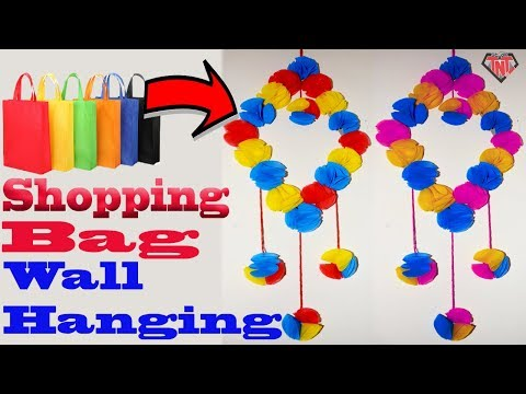 How To Make Tote bag Wall Hanging || Shopping Bag Recycling Ideas