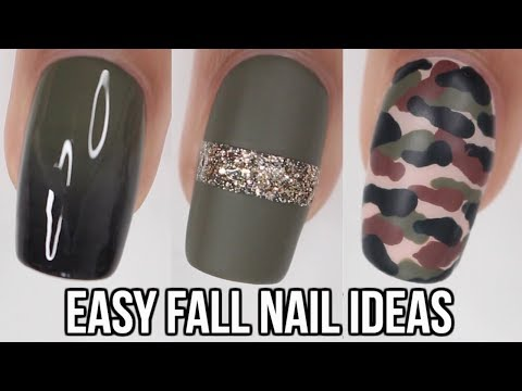 5 QUICK & EASY Fall Nail Ideas!   Olive Green Nails