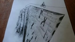 How to draw the hole building-3d trick art,trick art on paper.