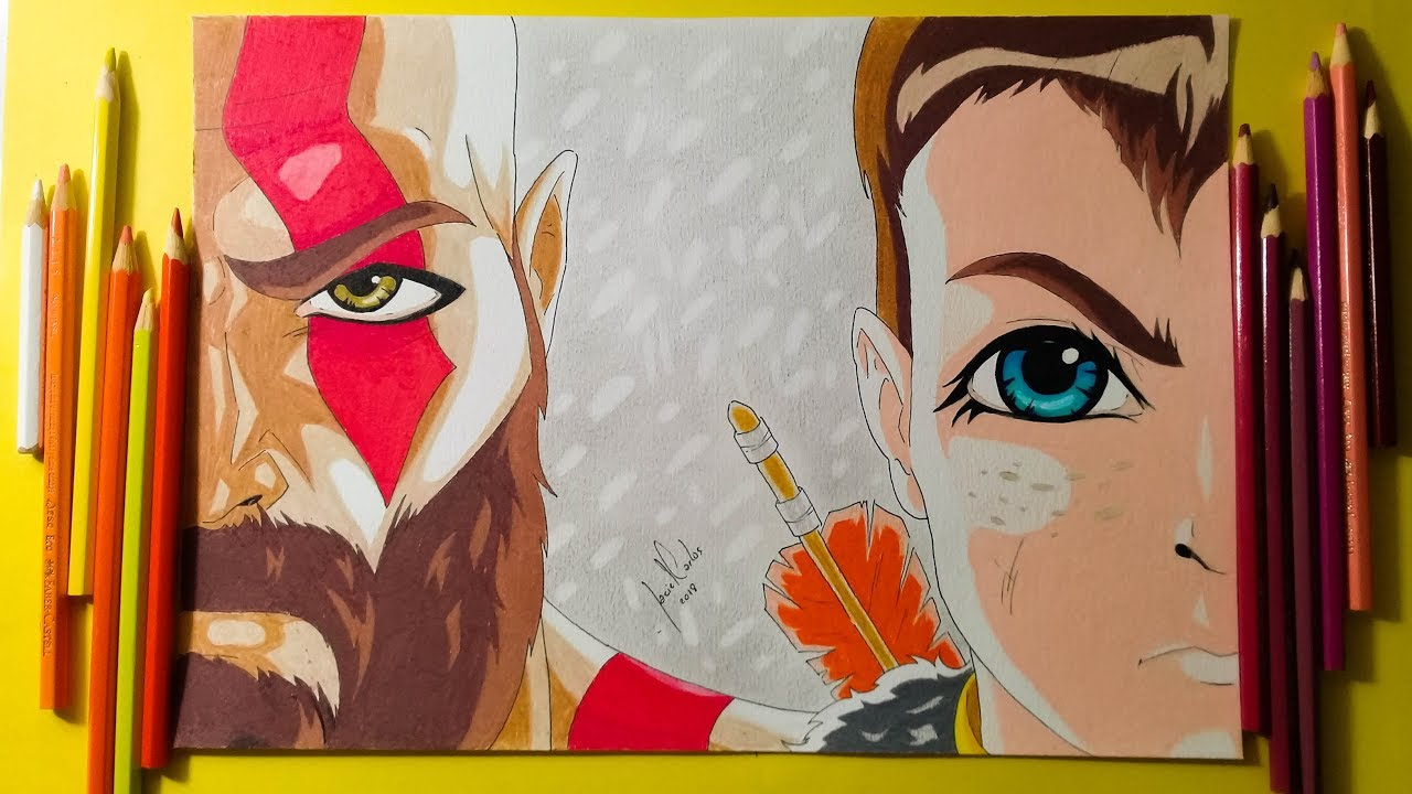 Colored Pencil Drawing Kratos And Atreus Fanart Youtube