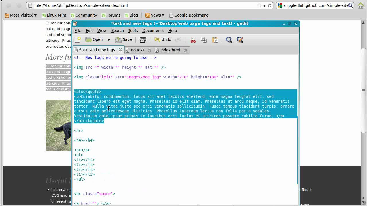 How to make a simple website using html video two