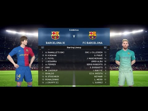 PES Classic Barcelona vs Barcelona 2017 - Cruyff vs Messi!!!