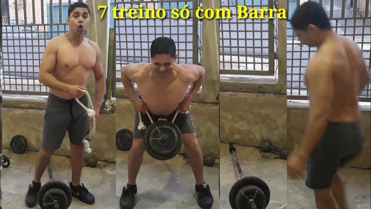 Como fazer 7 treinos só Barra p/Costas Remada Cavalinho s/ Triângulo 1de 7
