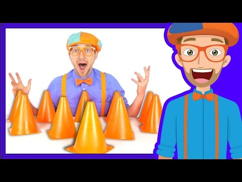 Thumbnail: Blippi plays with Construction Cones | Videos for babies