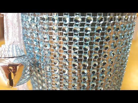 Dollar Tree Blue & Silver Bling Diamond Wrap Vase - DIY Christmas