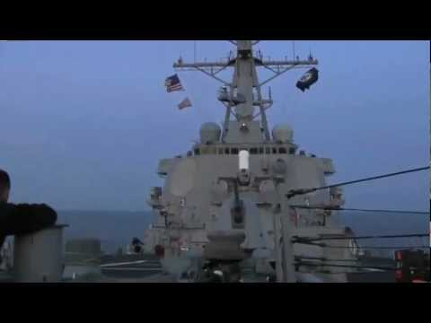 USS Stout Launches Tomahawk Missiles During Operation Odyssey Dawn HD