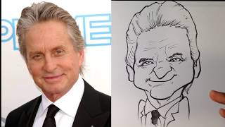 How to Caricature Michael Douglas from Ant-man - Easy Pictures to Draw
